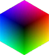 peace cube - icon of peaceful transformation, twin virtual light and colour cube
